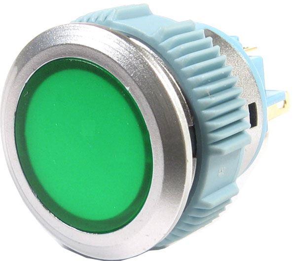 Tlačítko L22F-11NM, ON-(ON) 1pól. 250V/3A, zelené prosvětlené