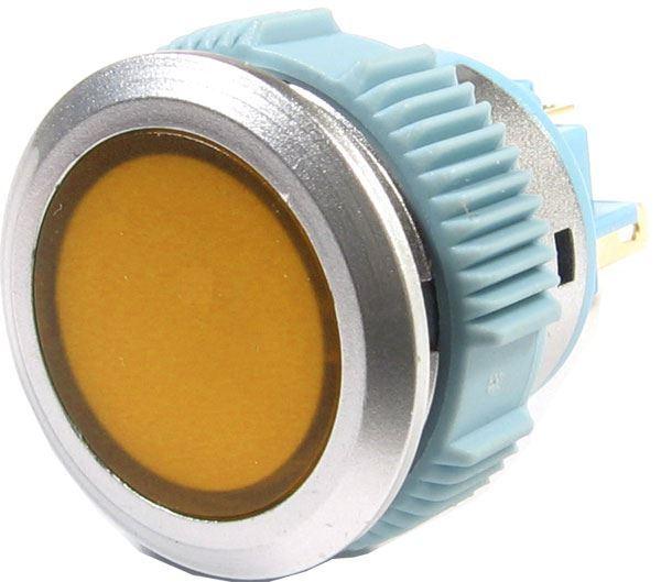 Tlačítko L22F-11NM, ON-(ON) 1pól. 250V/3A, žluté prosvětlení 12V