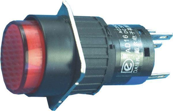Vypínač stiskací A16-22ZY, ON-ON 2pól. 250V/3A, červený prosvětlený