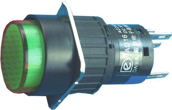 Vypínač stiskací A16-22ZY, ON-ON 2pól. 250V/3A, zelený prosvětlený