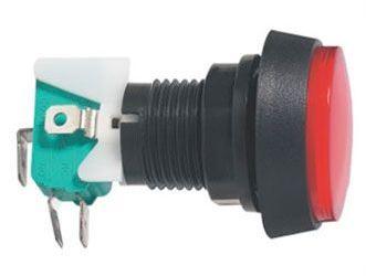 Tlačítko ON-(ON) 1p.250V/10A s mikrospínačem červené prosvětlené