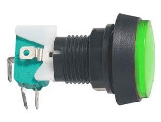 Tlačítko PBS-32, ON-(ON) 1p.250V/10A zelené, prosvětlené