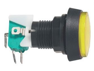 Tlačítko ON-(ON) 1p.250V/10A s mikrospínačem žluté prosvětlené