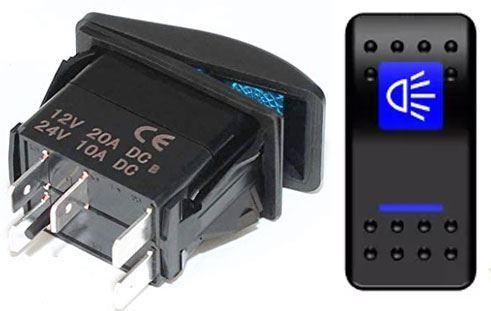 Vypínač kolébkový  A11625ABL-J8 ON-OFF 2p.12VDC/20A modrý, prosvětlen