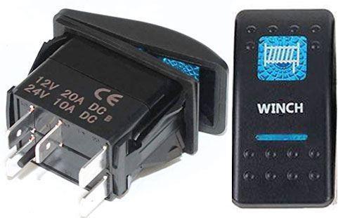 Vypínač kolébkový  A11625ABL-J15 ON-OFF 2p.12VDC/20A modrý, prosvětlen