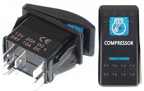 Vypínač kolébkový  A11625ABL-J25 ON-OFF 2p.12VDC/20A modrý, prosvětlen