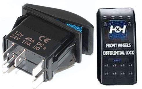 Vypínač kolébkový  A11625ABL-J37 ON-OFF 2p.12VDC/20A modrý, prosvětlen