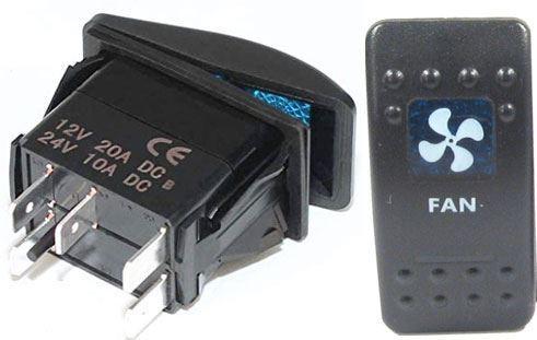 Vypínač kolébkový  A11625ABL-J85 ON-OFF 2p.12VDC/20A modrý, prosvětlen