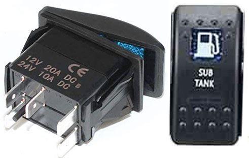 Vypínač kolébkový  A11625ABL-J84 ON-OFF 2p.12VDC/20A modrý, prosvětlen
