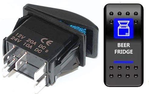 Vypínač kolébkový  A11625ABL-J91 ON-OFF 2p.12VDC/20A modrý, prosvětlen