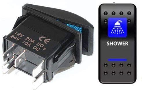 Vypínač kolébkový  A11625ABL-J92 ON-OFF 2p.12VDC/20A modrý, prosvětlen