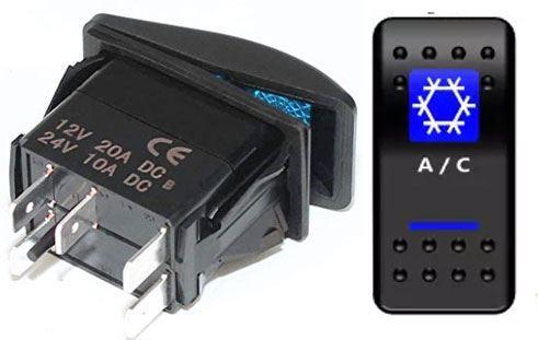 Vypínač kolébkový  A11625ABL-J40 ON-OFF 2p.12VDC/20A modrý, prosvětlen