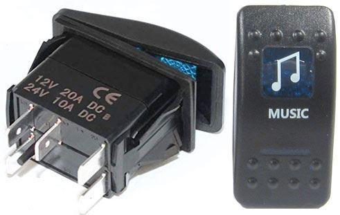 Vypínač kolébkový  A11625ABL-J52 ON-OFF 2p.12VDC/20A modrý, prosvětlen