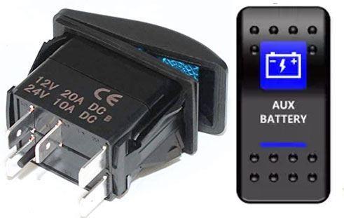 Vypínač kolébkový  A11625ABL-J68 ON-OFF 2p.12VDC/20A modrý, prosvětlen