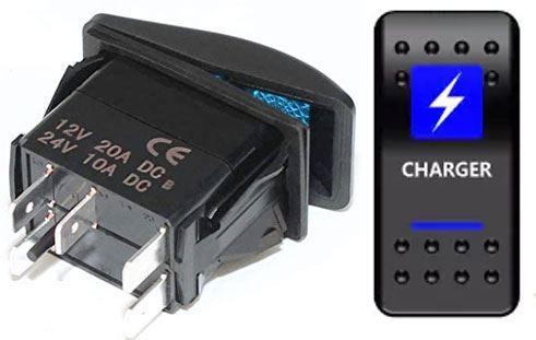 Vypínač kolébkový  A11625ABL-J99 ON-OFF 2p.12VDC/20A modrý, prosvětlen