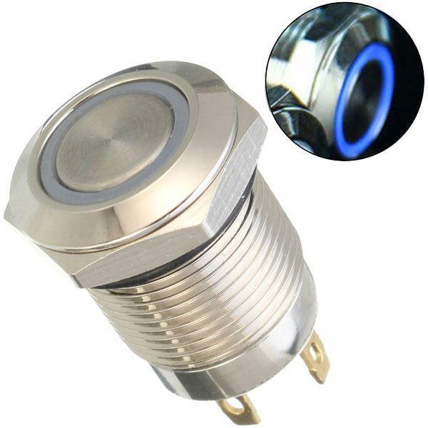 Tlačítko OFF-(ON) 250V/2A, modré prosvětlení 12V