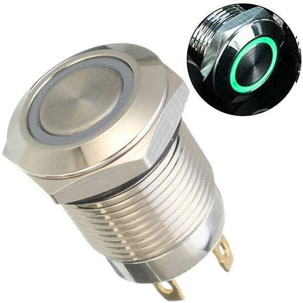 Tlačítko OFF-(ON) 250V/2A, zelené prosvětlení 12V