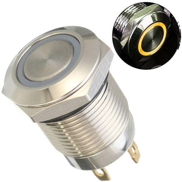 Tlačítko OFF-(ON) 250V/2A, žluté prosvětlení 12V