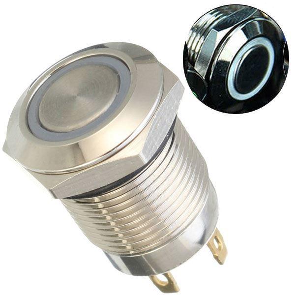 Tlačítko OFF-(ON) 250V/2A, bílé prosvětlení 12V