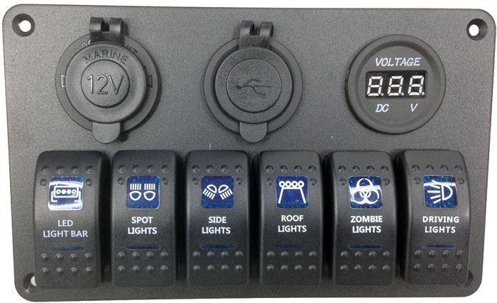 Panel PN-L6S3 se 6 vypínači, 2 napájecími zdířkami a V-metrem