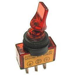 Vypínač páčkový ON-OFF 1pol.12V/20A červený, prosvětlení 12V