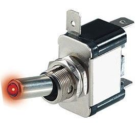 Vypínač páčkový ON-OFF 1pol.12V/20A, červené prosvětlení 12V