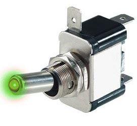Vypínač páčkový ON-OFF 1pol.12V/20A, zelené prosvětlení 12V