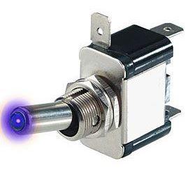 Vypínač páčkový ON-OFF 1pol.12V/20A, modré prosvětlení 12V