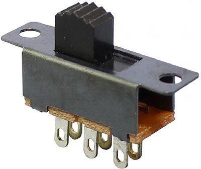 Přepínač posuvný ON-ON 2pol. 34x12mm