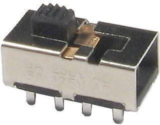 Přepínač posuvný KBB45-2P3W, ON-ON-ON 2pol. 250V/0,5A