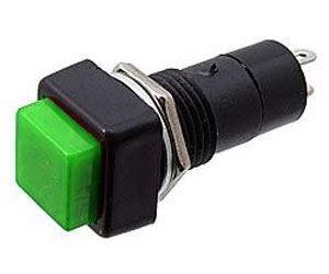 Vypínač stiskací PBS-12A, OFF-ON 1pol.250V/1A zelený