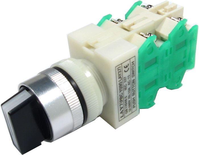 Přepínač otočný LAY7 (Y090-40XB/31), ON-OFF-ON 2.pólový 250V/6A