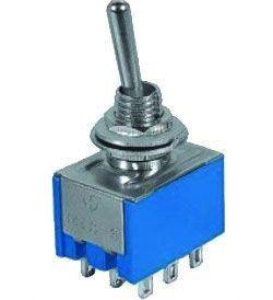 Přepínač pačkový ON-ON 3pol.250V/3A-mini-otvor 6mm