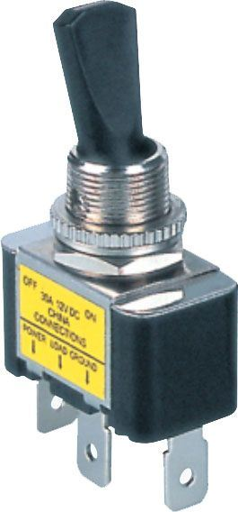 Přepínač páčkový ON-OFF 1pol.12V/30A , červené prosvětlení 12V