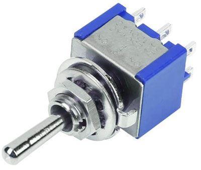 Přepínač páčkový (ON)-OFF-(ON) 2pol.250V/3A mini