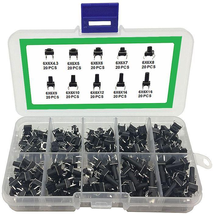 Přepínač tlačítkový ON-ON PS-22F28, 2pólový, 50V/0,3A