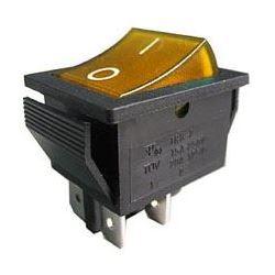 Přepínač kolébkový OFF-ON 2pol.250V/15A žlutý s doutnavkou
