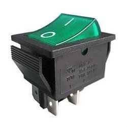 Vypínač kolébkový ON-OFF 2pól.250V/15A zelený s doutnavkou