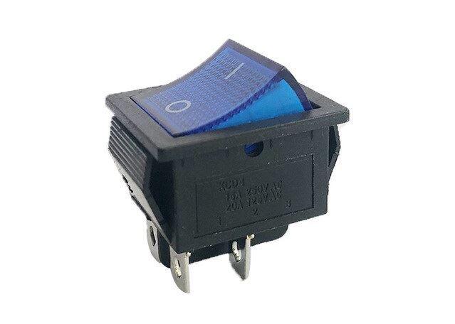 Vypínač kolébkový IRS-201-2C, ON-OFF 2pól.250V/15A modrý, prosvětlený