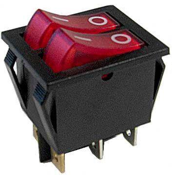 Vypínač kolébkový 2xOFF-ON 250V/15A červený s doutnavkou