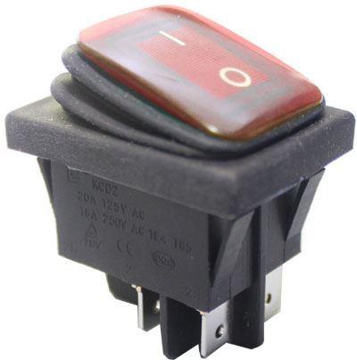 Vypínač kolébkový OFF-ON 250V/16A červený vodotěsný