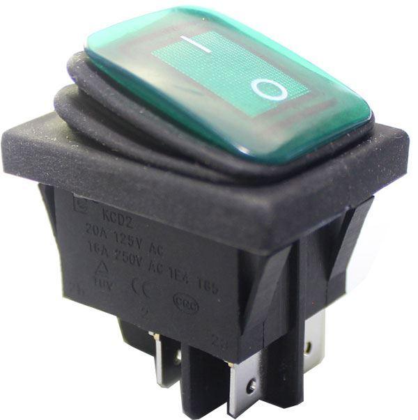 Vypínač kolébkový KCD2-2-201NW, OFF-ON 250V/16A zelený vodotěsný