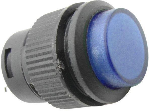 Vypínač stiskací R16-503AD 1pól. OFF-ON 250V/3A modré prosvětlené