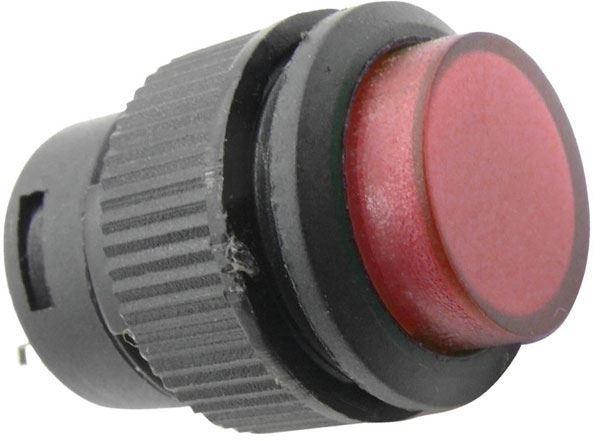 Tlačítko R16-503BD 1pól. OFF-(ON) 250V/3A červené prosvětlené
