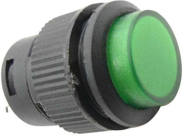 Tlačítko R16-503BD 1pól. OFF-(ON) 250V/3A zelené prosvětlené