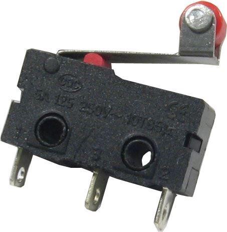Mikrospínač KW11-3Z, ON-(ON) 1pol.250V/5A s páčkou 13mm