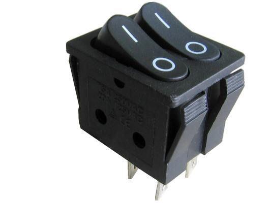 Přepínač kolébkový 2xON-OFF 2x1pol.250V/15A černý