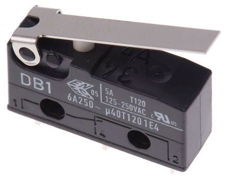 Mikrospínač ON-ON 1pol.250V/6A s páčkou CHERRY DB1