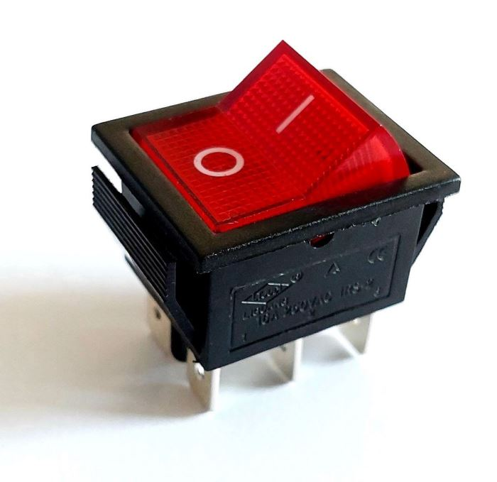 Přepínač kolébkový ON-ON 2pol.250V/15A červenýv s doutnavkou