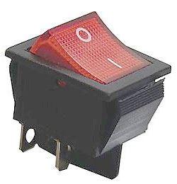 Vypínač kolébkový ON-OFF 2pol.250V/15A červený bez doutnavky